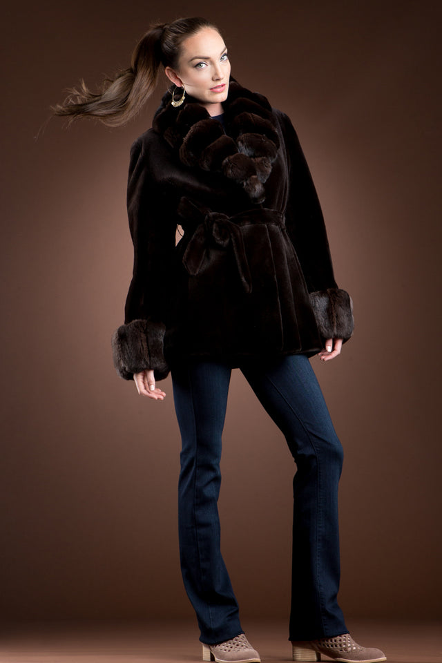 EM-EL Sheared Mink and Chinchilla Fur Jacket - Notch Collar