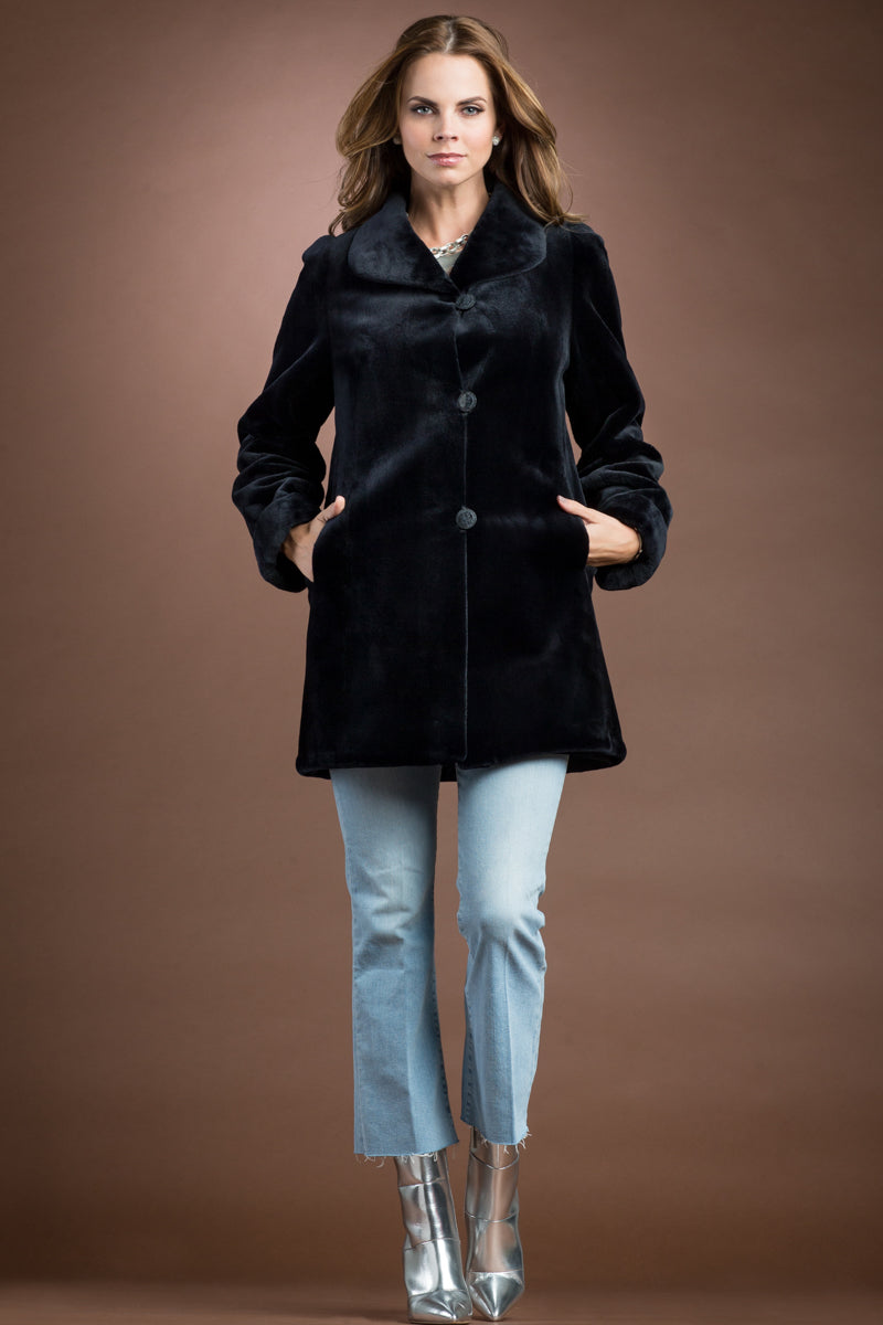 NavyBlue EM-EL Reversible Sheared Mink Mid-Length Fur Coat - Wing Collar - TB Cuff