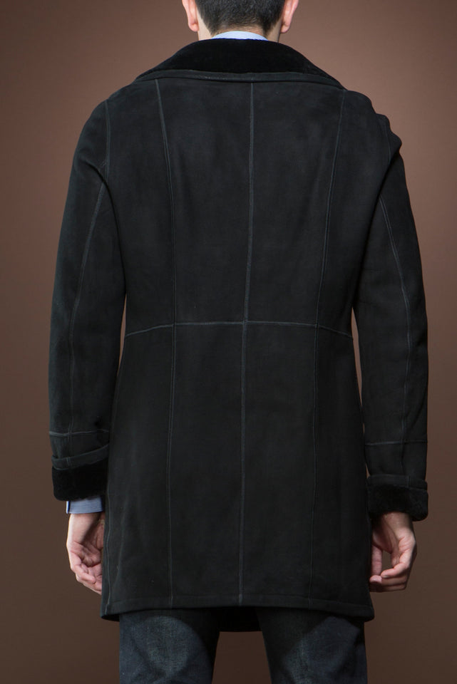 EM-EL Men's Spanish Black Trench Mid-Length Shearling Coat