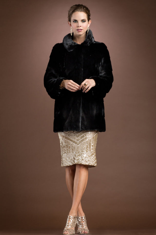 Horizontal Black Mink Mid-Length Fur Coat
