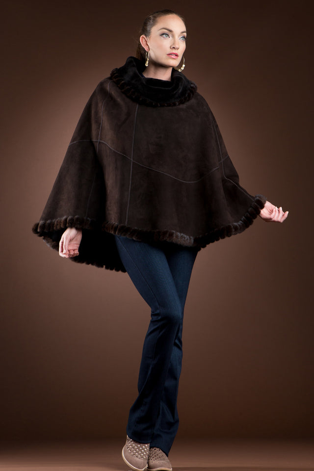 Spanish Brown Shearling & Mink Fur Poncho
