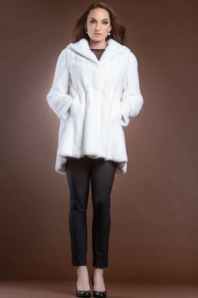 Hooded High-Low Swing Mink Mid-Length Fur Coat