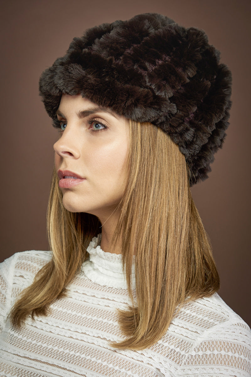 Brown EM-EL Rex Rabbit Knitted Fur Cap