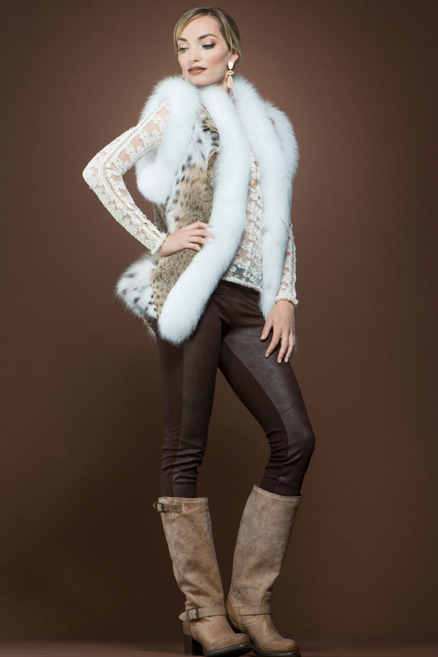 NaturalMulti Zandra Rhodes American Lynx and Fox Fur Vest