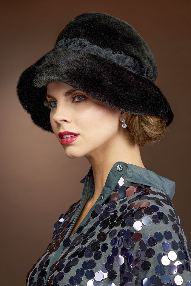 Black Lenore Marshall Real Floppy Fur Hat