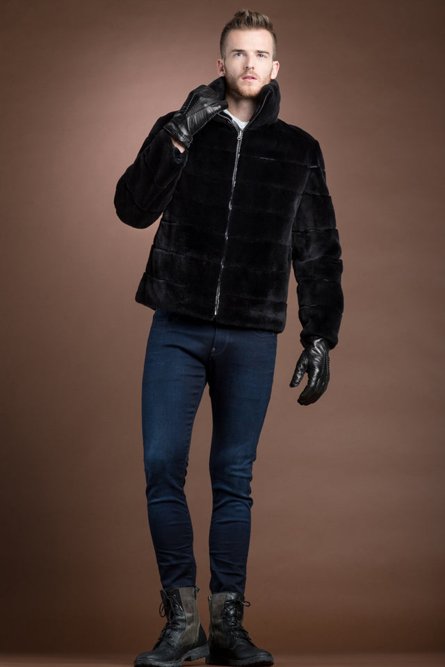 Men's Reversible Black Plucked Zip-Up Mink Fur Jacket