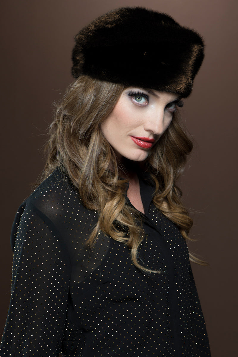 Mahogany Lenore Marshall Fitted Profile Mink Fur Beret