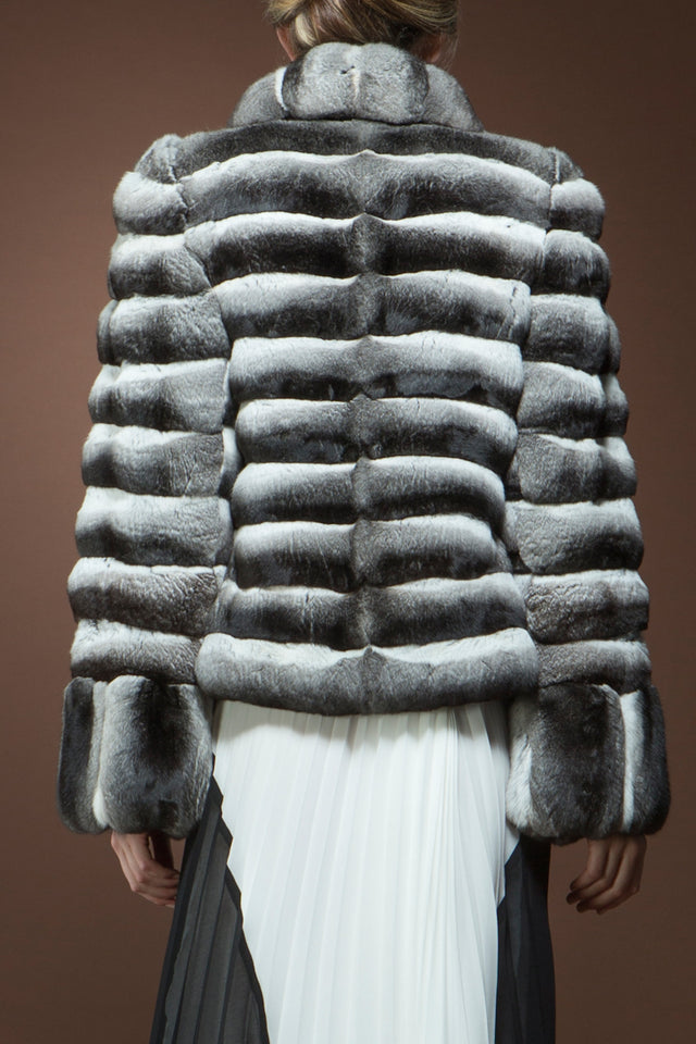 Anamoda Horizontal Chinchilla Fur Jacket - Vertical Cuffs - Shawl Collar