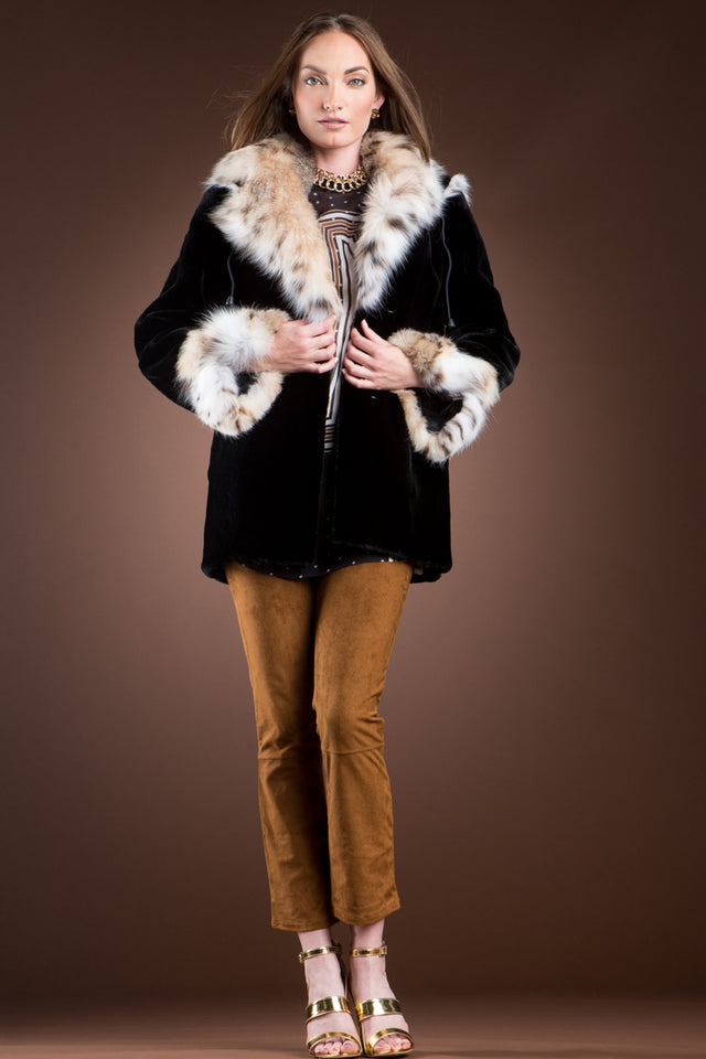 S EM-EL Hooded Black Sheared Beaver and American Lynx Fur Jacket