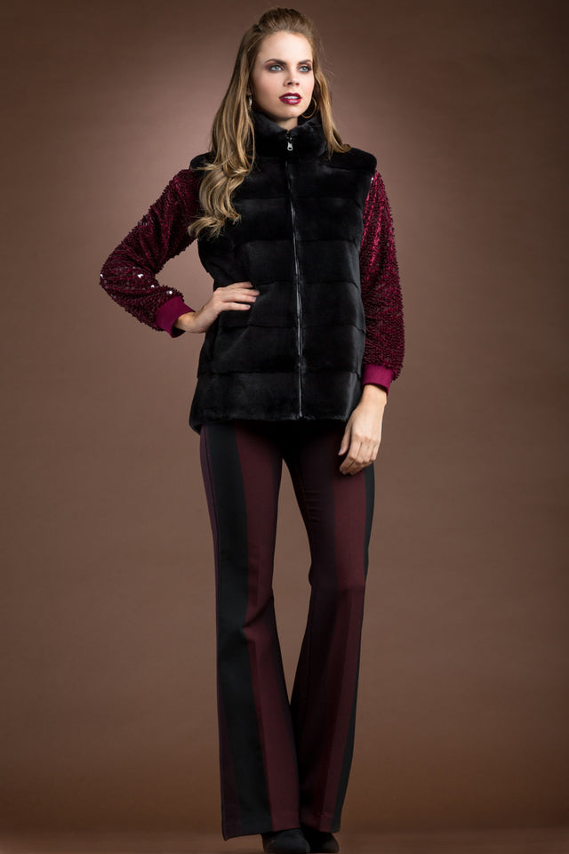 Plucked Mink Fur Vest Reversible to Leather
