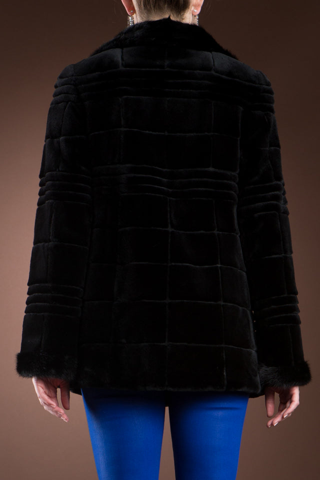 Reversible Patterned Black Sheared & Long Haired Mink Fur Jacket