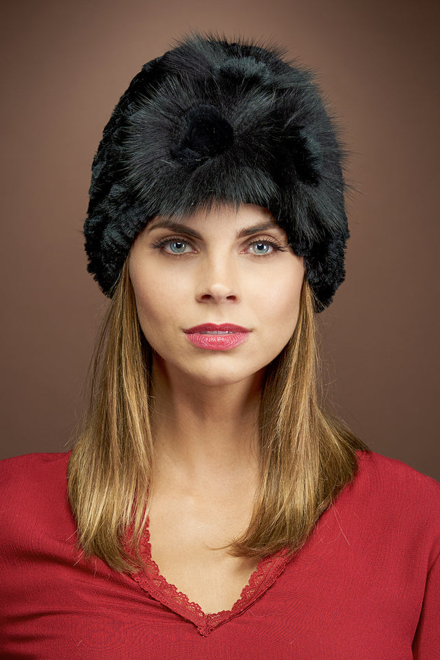 Black EM-EL Knitted Rex Rabbit Fur Hat-Flower Detail