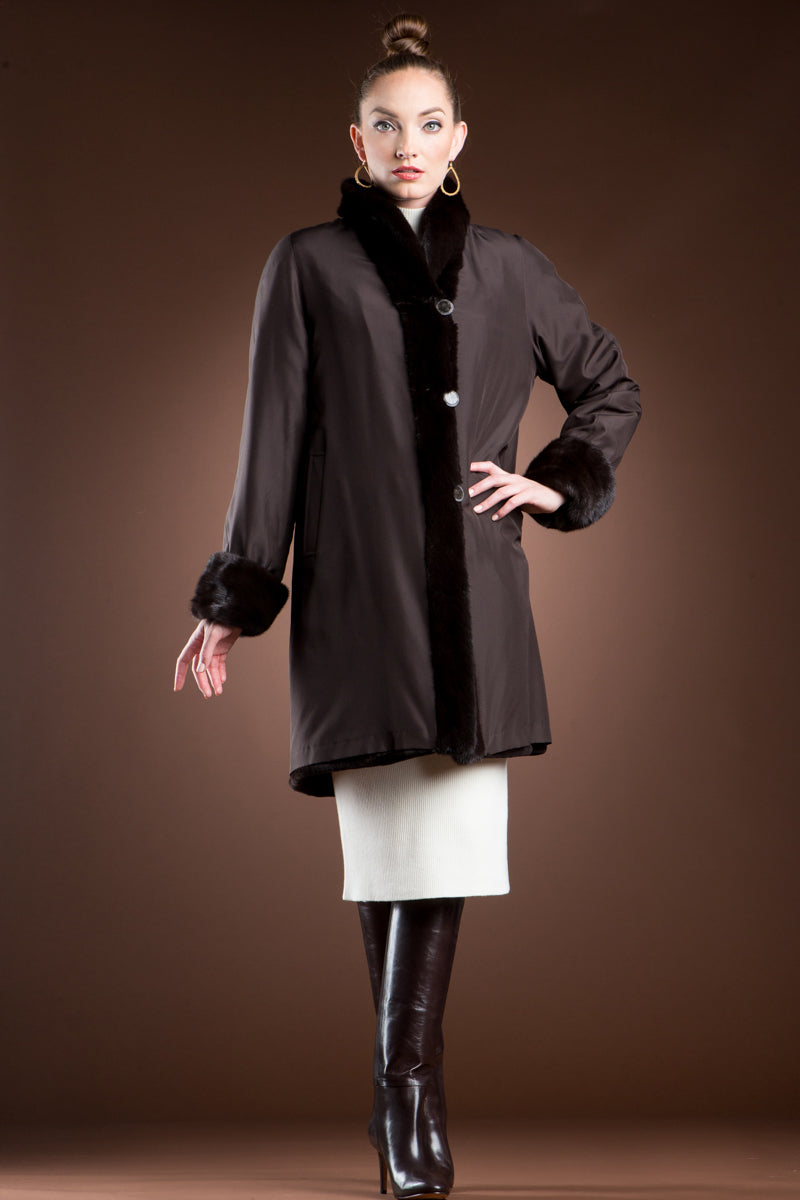 Brown EM-EL Reversible Sheared and Long Haired Mink Mid-Length Fur Coat