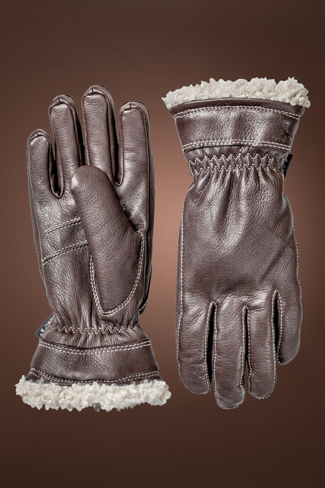 Brown Hestra Women's Deerskin Primaloft Gloves