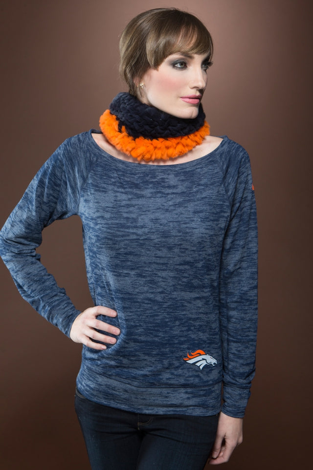 Orange/Navy Blue Glamourpuss NYC Orange and Navy Rex Rabbit Fur Funnel