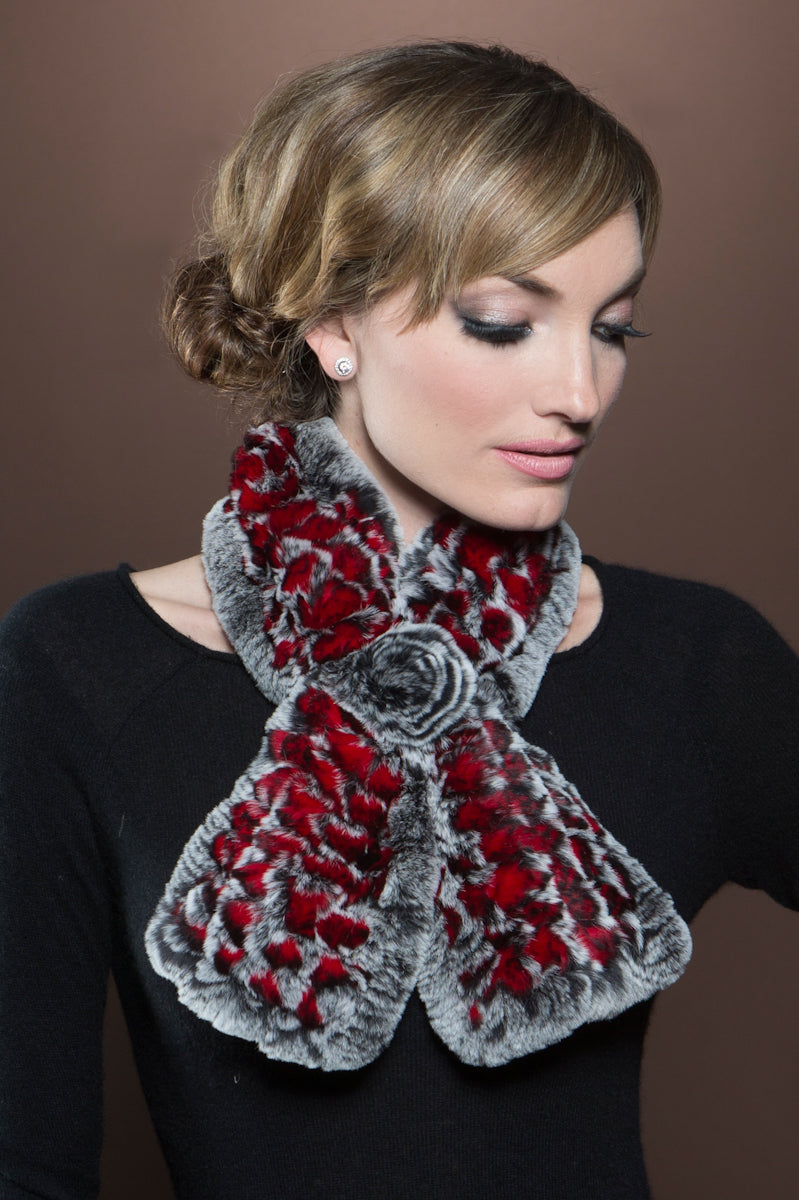 red EM-EL Knitted Rex Rabbit Pull-Though Scarves