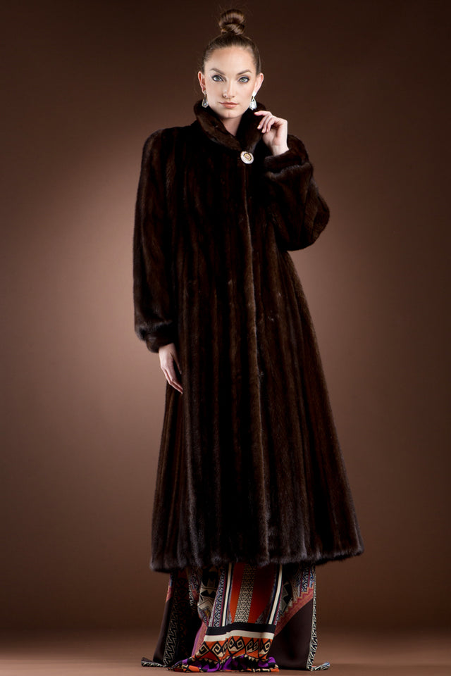 EM-EL Mink Fur Coat - Wing Collar - Banded Cuffs