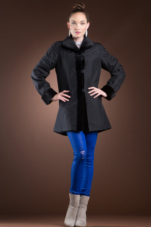 Reversible Sheared Mink Mid-Length Fur Coat - Wing Collar - TB Cuff