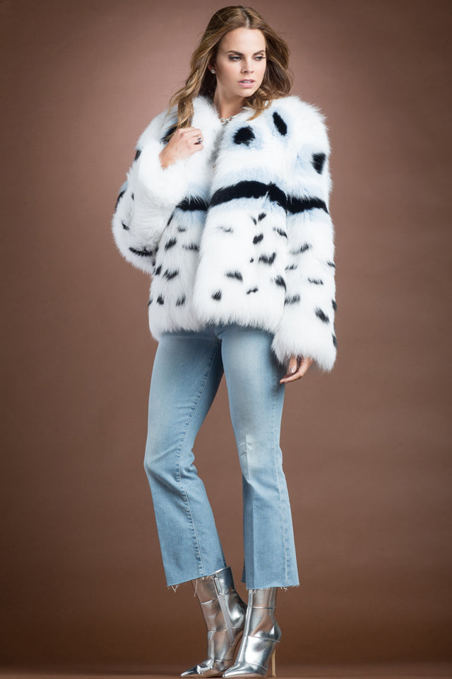 Multi-Color Fendi Fox Style Fur Jacket