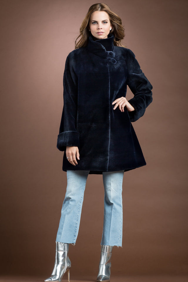 Reversible Super Sheared Mink Mid-Length Fur Coat