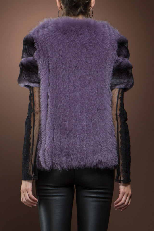 Purple Fox and Chinchilla Zipper Fur Jacket