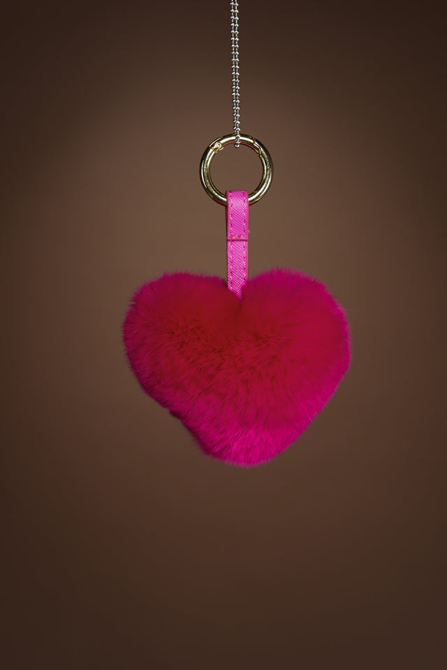 Rex Rabbit Heart Fur Keychain