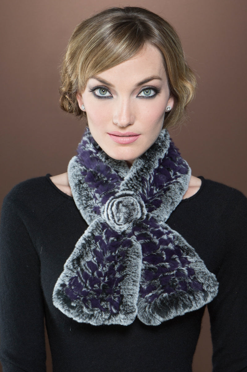 purple EM-EL Knitted Rex Rabbit Pull-Though Scarves