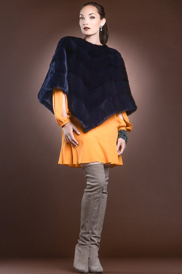 Diagonal Mink Fur Poncho-Brick Border Pattern