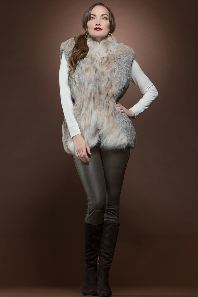 Fitted Canadian Lynx and Leather Fur Vest