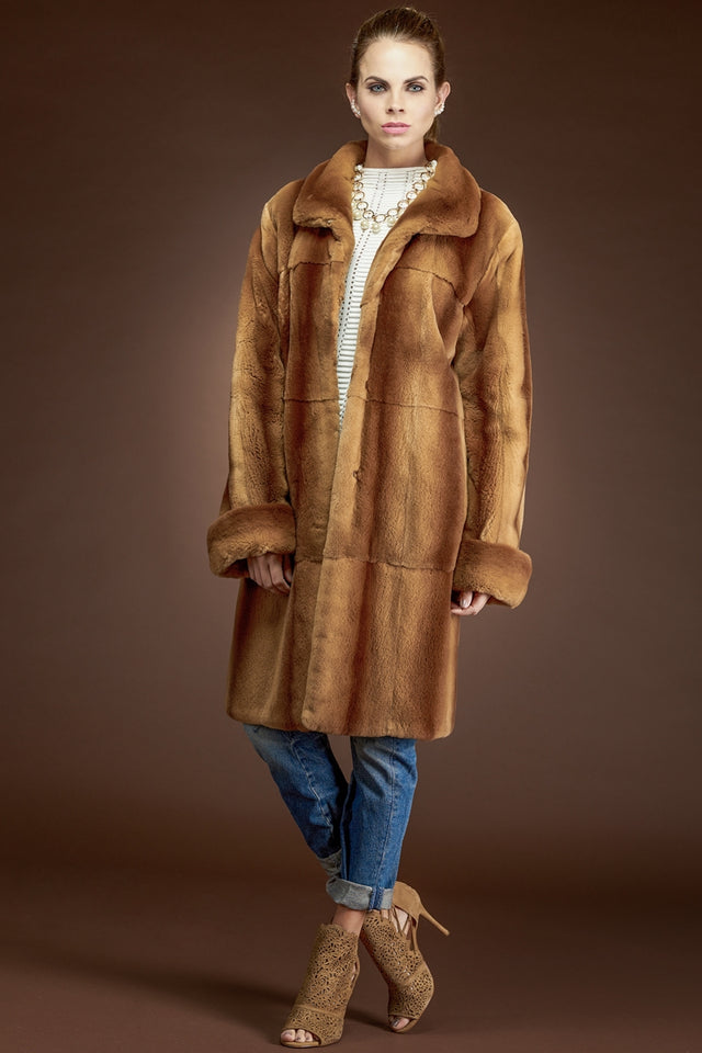 Whiskey Plucked Mink Mid-Length Fur Coat
