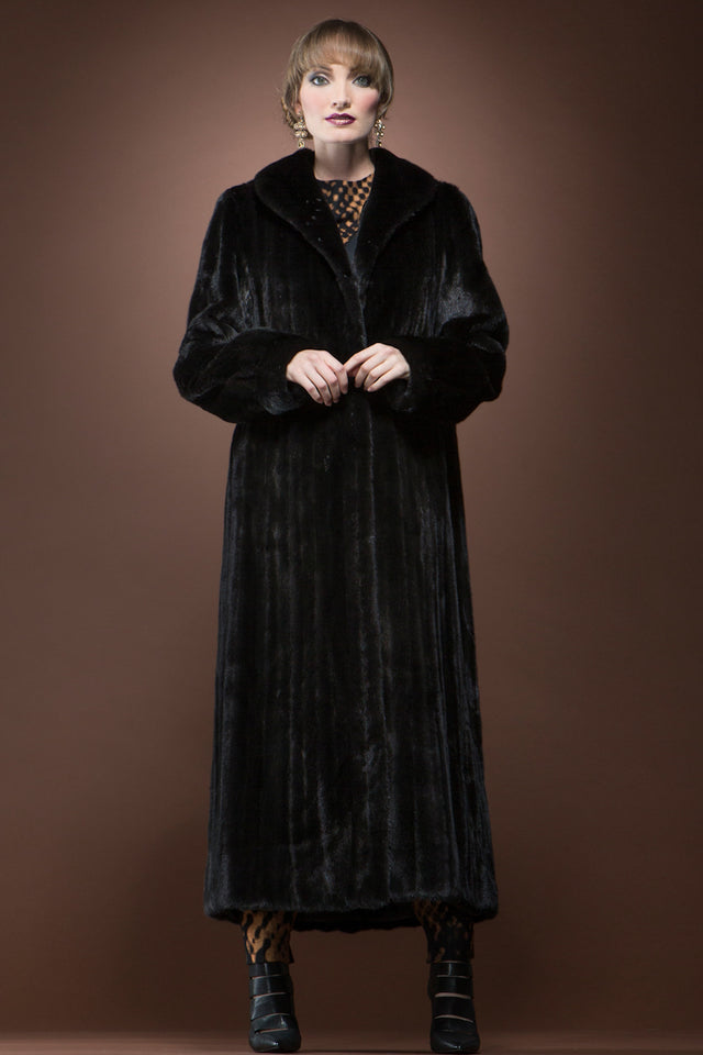 Mary McFadden Black Platinum Ranch Mink Fur Coat