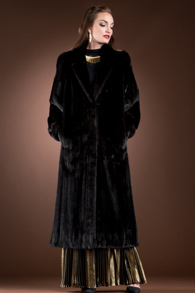 Ranch Mink Fur Coat-Banded Cuffs