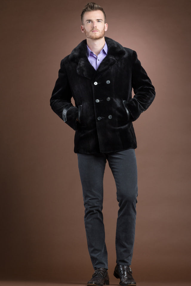 Men's Dyed Black Sheared Mink Double Breasted Fur Jacket-Python Details