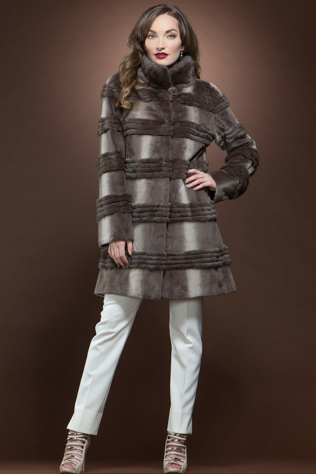 Micro Sheared and Long Haired Mink Mid-Length Fur Coat