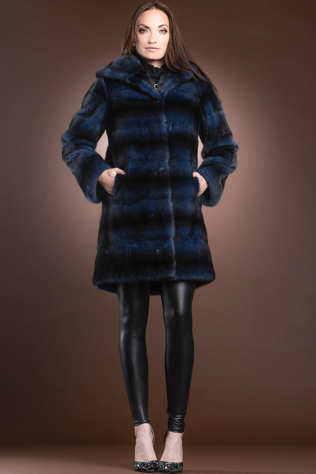Zandra Rhodes Denim Blue Horizontal Hooded Fur Mid-Length Coat