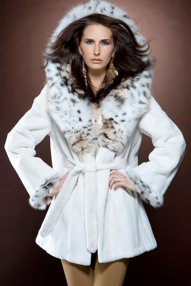 White Sheared Mink and American Lynx Fur Parka