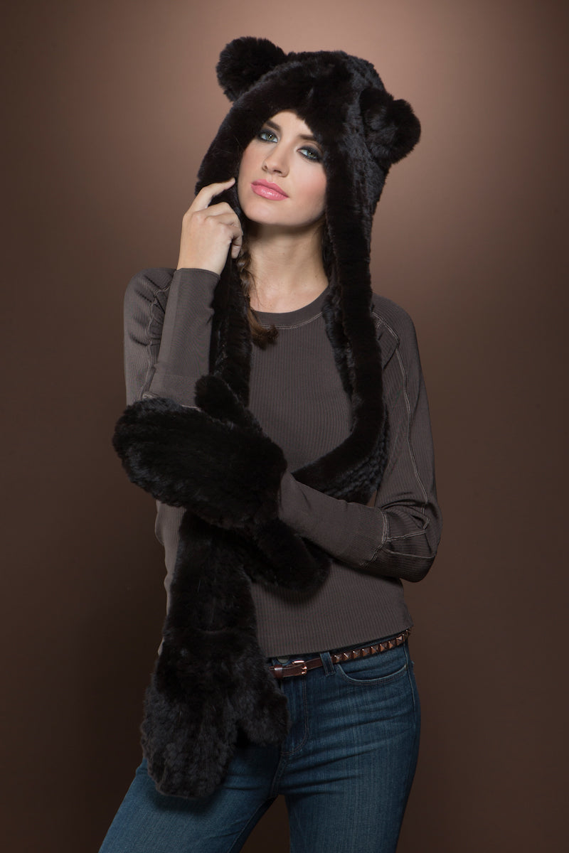 Brown EM-EL Rex Rabbit Knitted Fur Hat with Ears, Scarf and Gloves