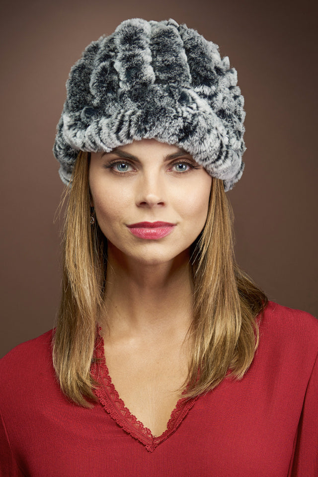 Gray EM-EL Rex Rabbit Knitted Fur Cap