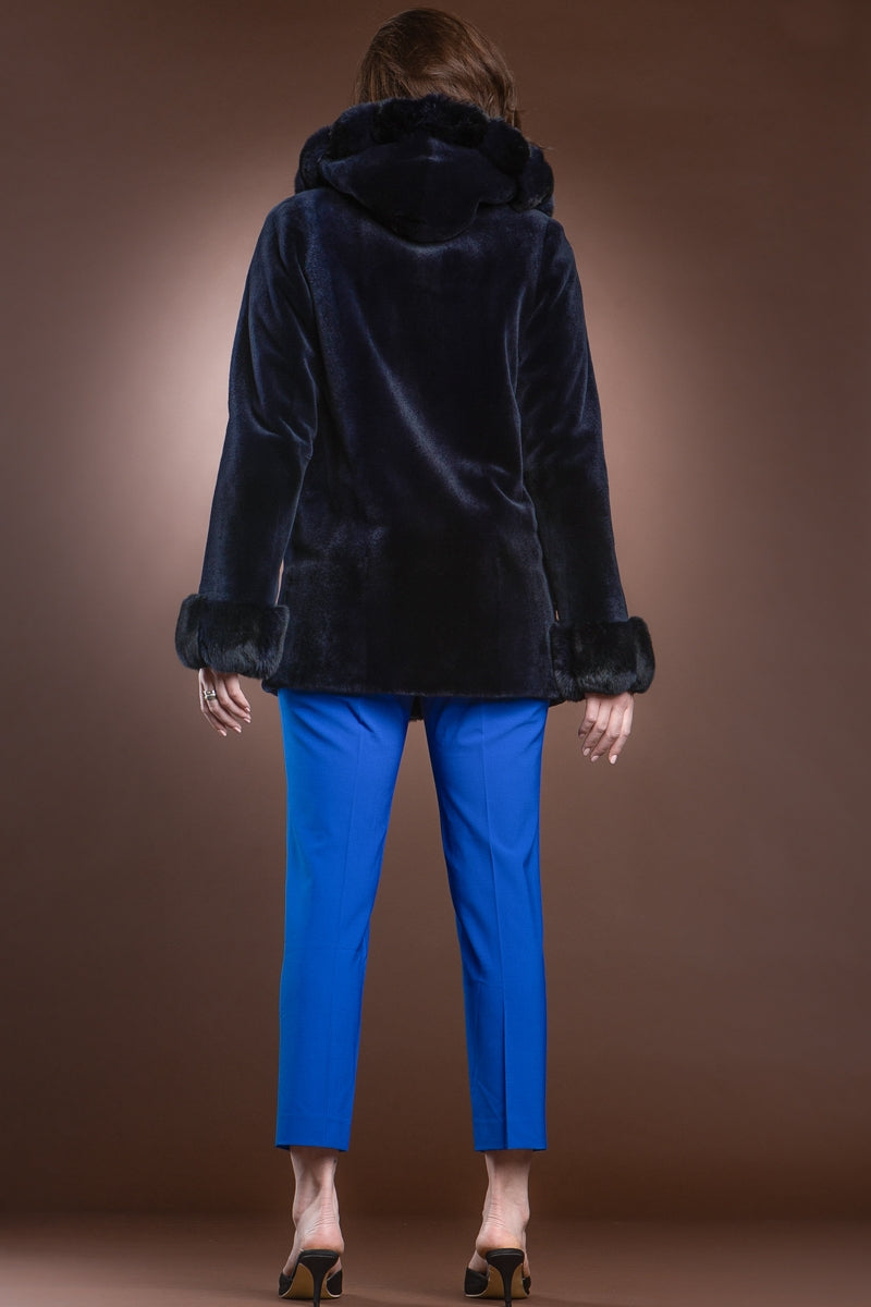 NavyBlue EM-EL Hooded Reversible Sheared Mink and Chinchilla Fur Jacket