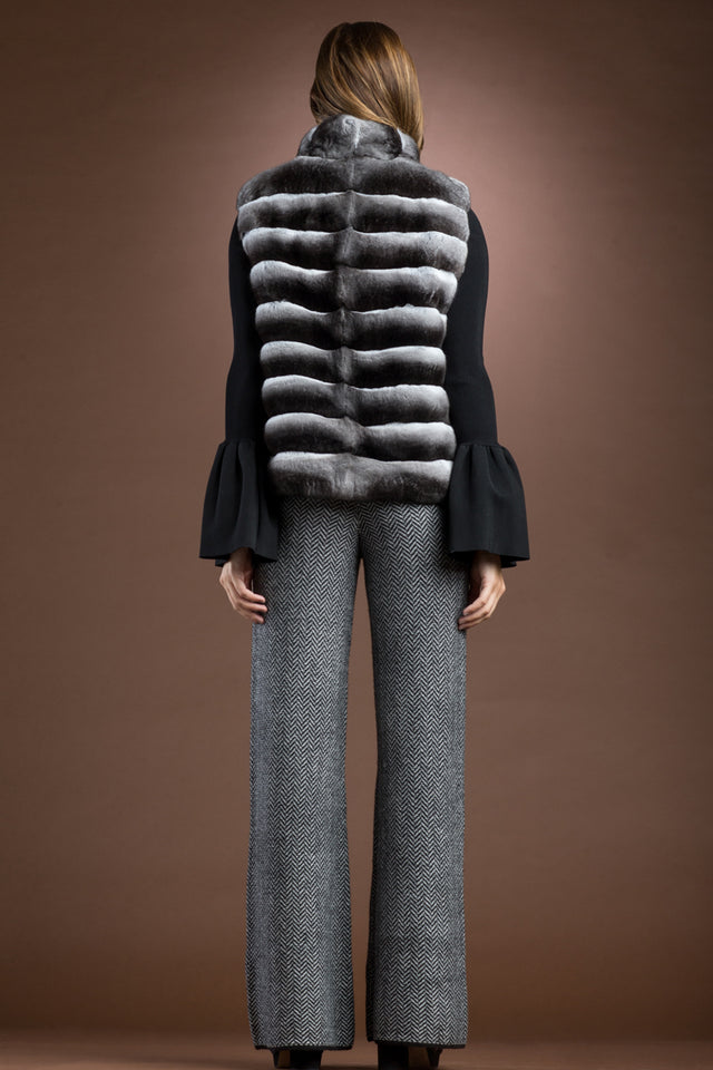 EM-EL Horizontal Chinchilla Fur Vest