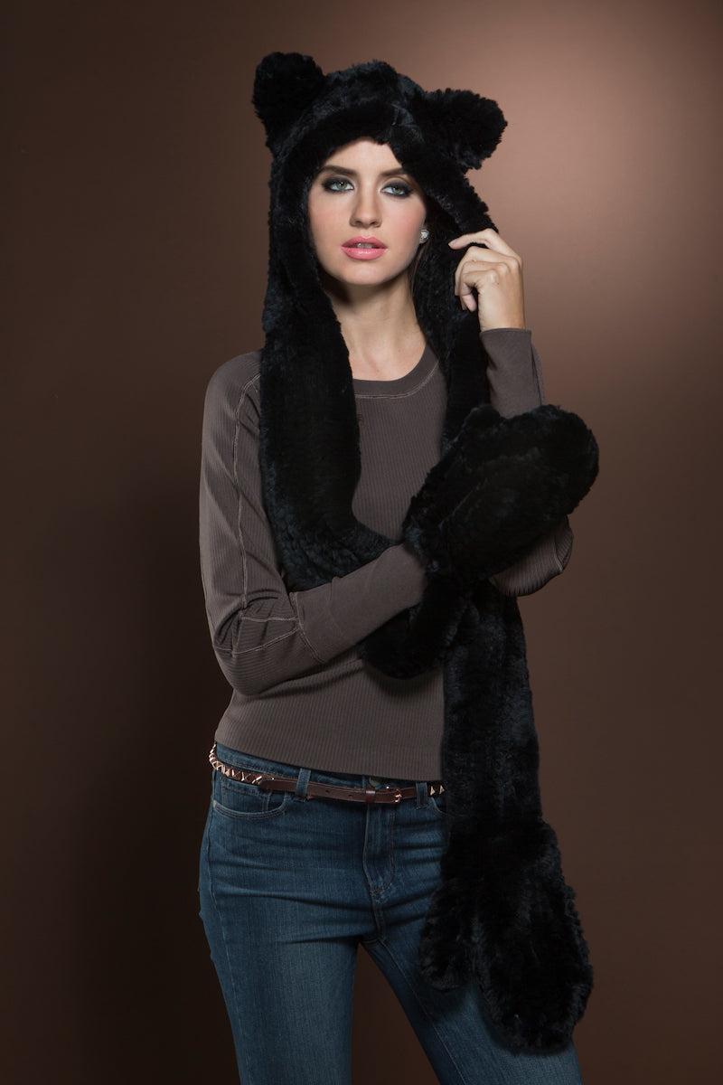 Black EM-EL Rex Rabbit Knitted Fur Hat with Ears, Scarf and Gloves