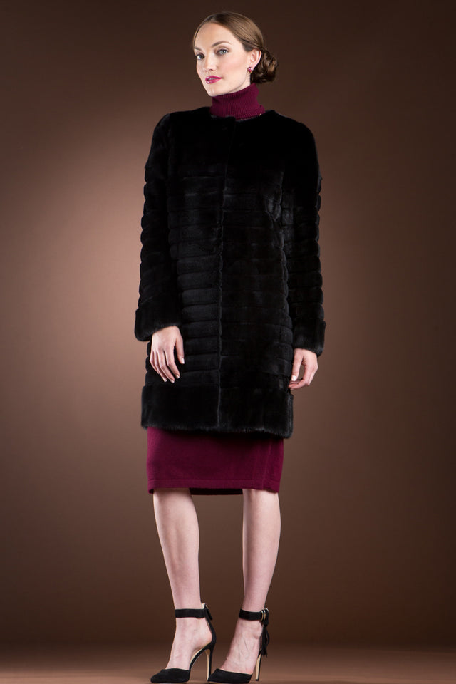 Black Sheared Horizontal & Long Haired Mink Mid-Length Fur Coat - Detachable Fox Collar