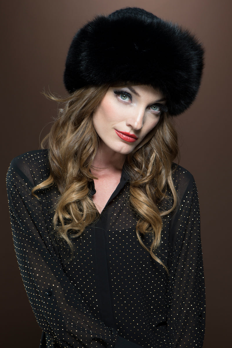 Black Lenore Marshall Cashmere Knit and Fox Fur Brim Hat