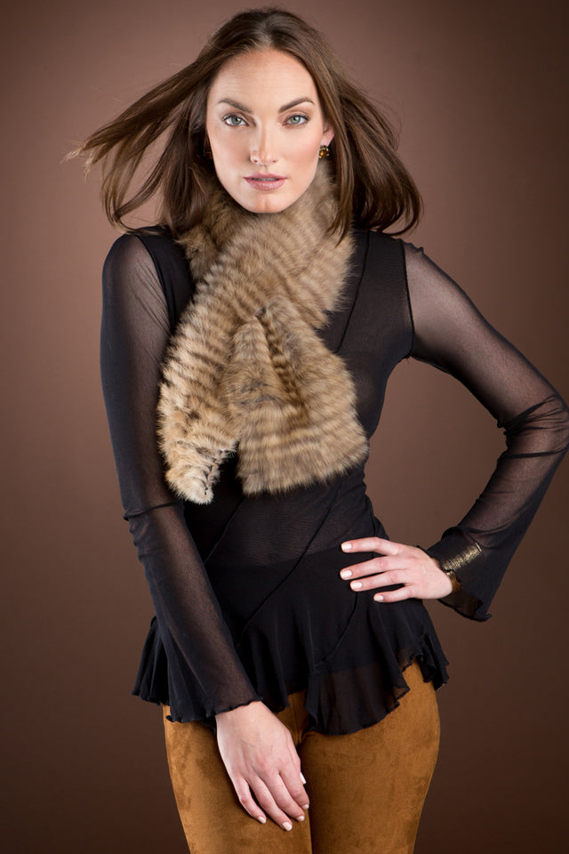 Russian Sable & Mink Double Fur Pull-Through Scarf