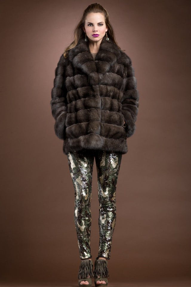 Russian Horizontal Sable Fur Jacket