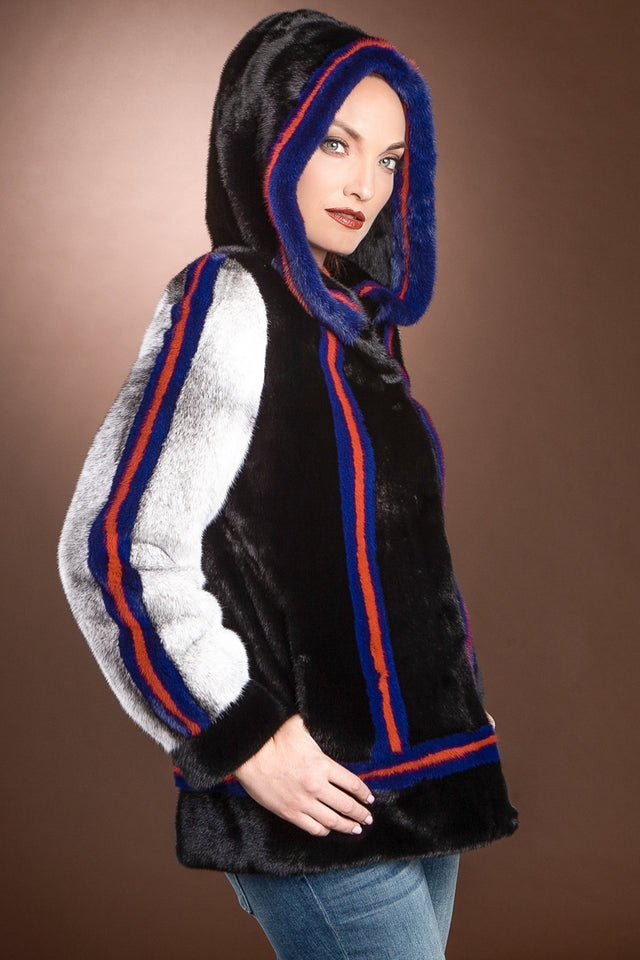 EM-EL Black Star Hooded Mink Fur Jacket - Black Cross Mink Sleeves - Red - Blue Inserts
