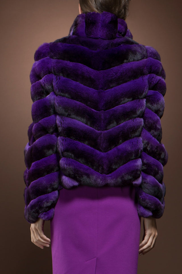 Purple Chinchilla Fur Jacket