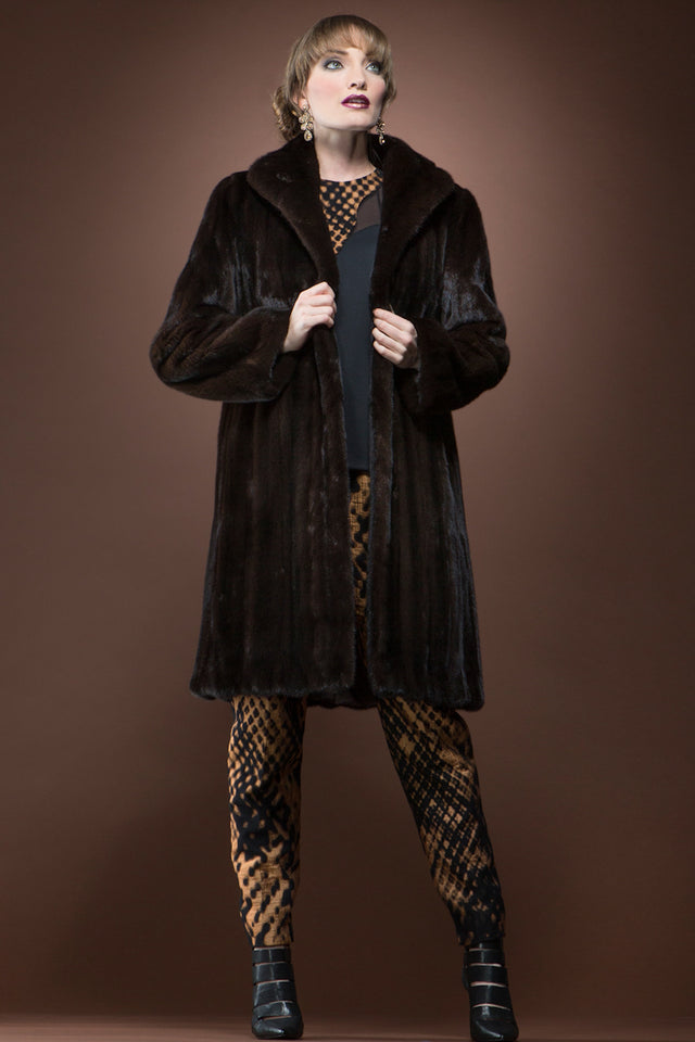 Mahogany Mink Mid-Length Fur Coat