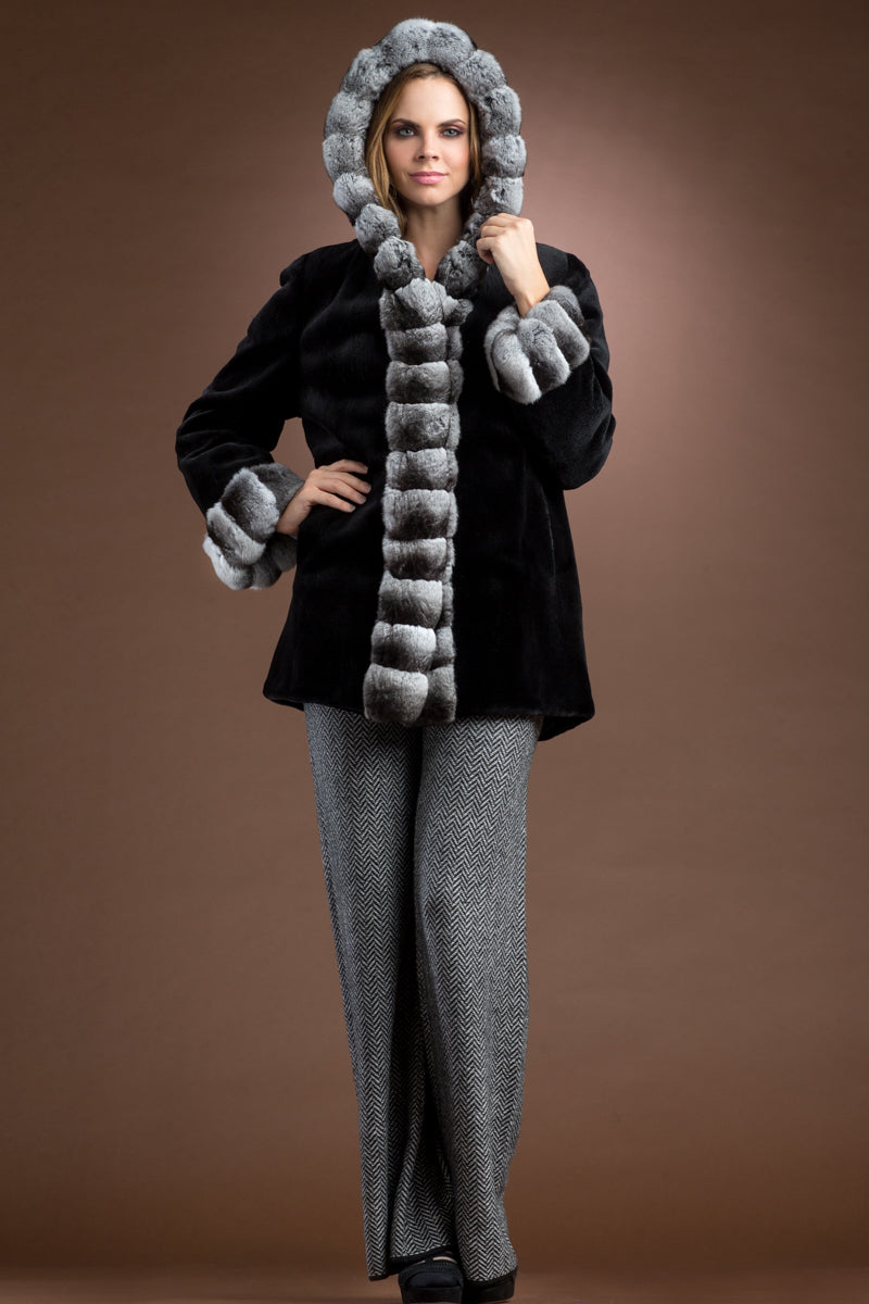 Black/Gray EM-EL Hooded Reversible Sheared Mink and Chinchilla Fur Jacket