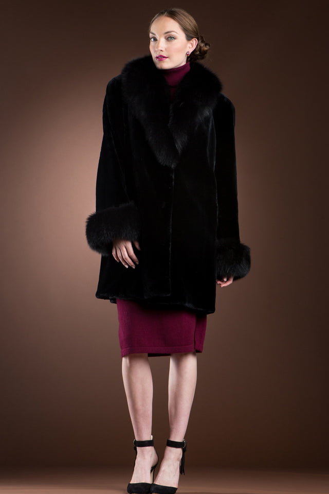 Black Sheared Beaver & Fox Mid-Length Fur Coat
